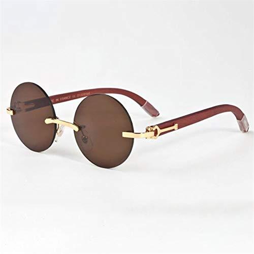 LKVNHP Hohe Qualität Runde Sonnenbrille Männer Holz Sonnenbrille Für Mann Marke Randlose Sonnenbrille Anti Reflektierende Uv400Kaffee Braun