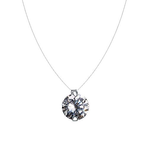 QIYUEQI Ms Halskette S 925 Sterling Silber einfache menschliche Knochen Tränen Zirkon Anhänger kurz Schlüsselbein Transparente unsichtbare Angelschnur Halskette stilvoll Kreative Halskette