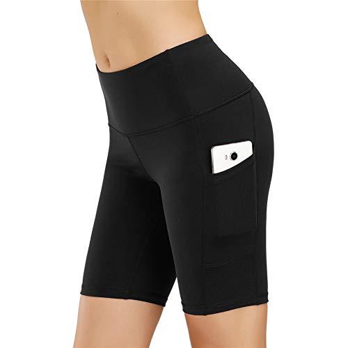 IceUnicorn Damen Sport Leggins Hohe Taille Tights 3/4 Yogahose Blickdichte Kurz Laufhos Fitness Hosen Jogginghose mit Taschen Short(1/2 Schwarz, M)