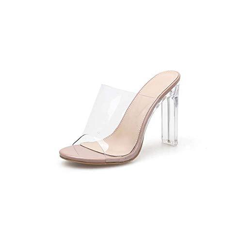 GHFJDO Damen klare Ferse Peep Toe Mules | Transparente PVC-Pumps mit klarem Absatz | Klarer Slip On High Heels - Blockabsatzsandalen,Pink,39EU