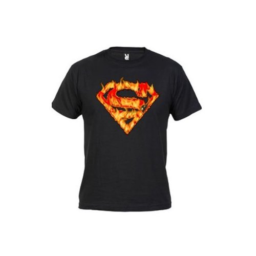 Camiseta logo Superman (Fuego) (Talla: Talla XL Unisex Ancho/Largo [58cm/76cm] Aprox], Color: Negro)