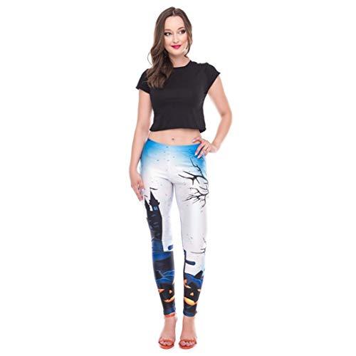 Frauen Casual Happy Halloween Kürbis Leggings Skinny Stretchy Bleistift Hosen-Classics Damen Leggings Mesh Yoga-Fitness-Hose-Jogging Training Sporthose Push up Yogahose(blau,XL)