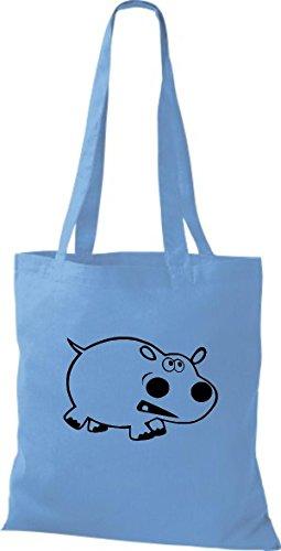 Shirtstown Stoffbeutel Tiere Nilpferd Hellblau