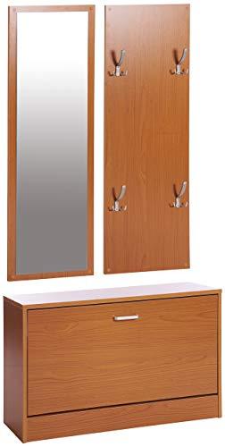 ts-ideen 3er Set Wand-Garderobe Wand-Spiegel Schuhkipper Schuhschrank Sitzbank Buche Hell