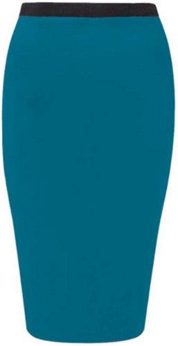 nouvelles femmes plus la taille maillot tronçon midi moulante crayon jupes occasionnels Teal