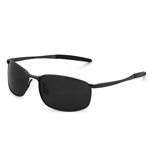 AMZTM Gafas Deportivas Para Hombre Marco De Metal Rectangular Gafas De Sol Polarizadas Para Ciclismo Gafas De Conducción De Moda (Schwarz Rahmen Grau Linse, 57)