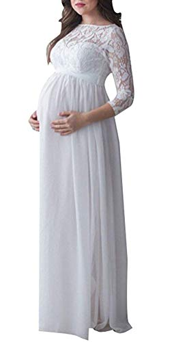 Targogo Schwangerschafts Kleid Chiffonkleid Maxi Spitzenkleid Elegant Schwangere Umstandsmode Damen...