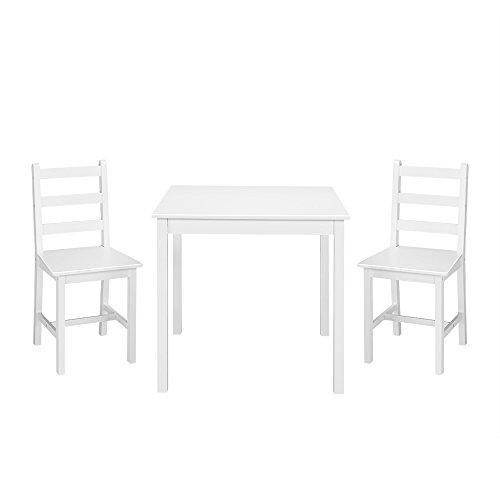 Ruication Esstisch und 2 Stühle, massives Kiefernholz, modernes Esszimmer-Set für Esszimmer, Wohnzimmer, Küche, Lounge White Desktop + White Legs -