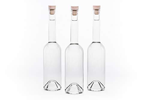 Botellas de cristal vacías botellas Ope con mango de madera, corcho 0,1 / 0,2 / 0,35 / 0,5 litros de botellas de licor, botellas de licor, botellas de vinagre, botellas de aceite listos para ser llenado, aceite / botella de vinagre con cierre selecci...