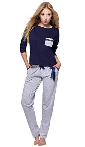 SENSIS Trendiger Baumwoll-Pyjama Schlafanzug Hausanzug aus lässigem Shirt und gemütlicher Hose, Made in EU (L (40), Marineblau/grau) -