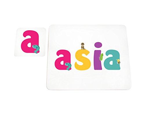 Little helper lhv-asia-coasterandplacemat-15it sottobicchieri e tovagliette con finitura lucida, personalizzati ragazze nome asia, multicolore, 21 x 30 x 2 cm