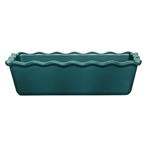 "Emile Henry Made In France Ruffled Loaf Pan, 9"" by 5"" by 3"", Blue Flame"