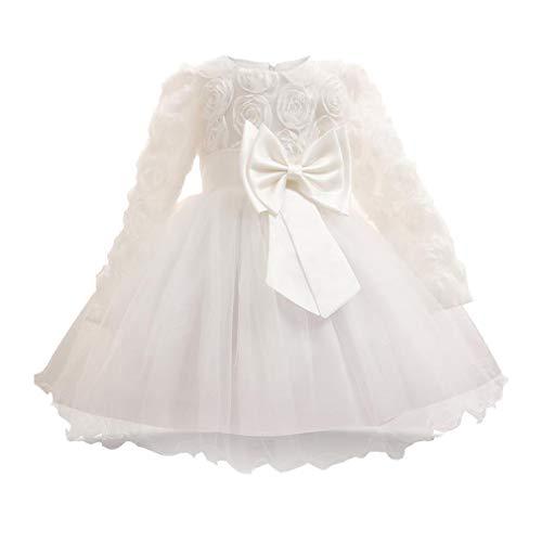 Yying Weihnachten Baby Mädchen 1 Jahr Geburtstag Kleid Kleinkind Taufkleider Kinder Party Tragen Kleidung Mädchen Boutique Kleid Weiß 90 cm