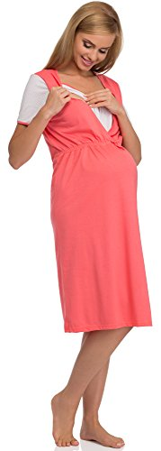 Be Mammy Vêtements Maternité Chemises de Nuit BE20-103 Corail/Blanc