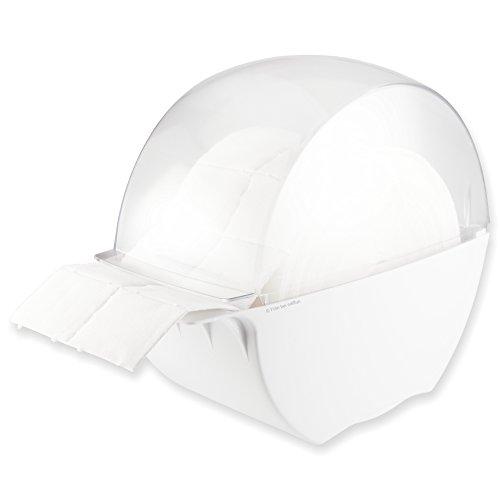 Designer Zelettenbox weiss/transparent gefüllt mit 1 Rolle Zelletten (= 500 Stück) (Nail Pinsel-spender)