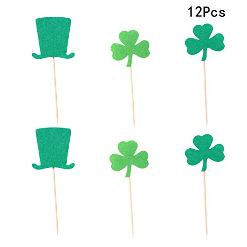Amosfun St. Patricks Day Cake Topper fühlte Kleeblatt Kobold Hut Cupcake Plektren für St. Patrick's Day Geschenke St. Patrick's Day Zubehör 12pcs (zufälliges Muster)