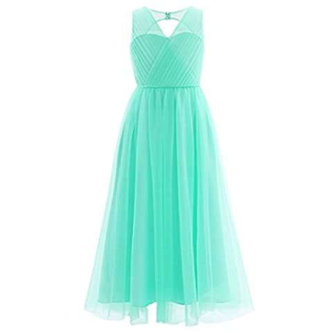 iEFiEL Girls Kids Mesh Cutout Back Flower Dresses Wedding Bridesmaid Pageant Birthday Party Princess Dress Turquoise 13-14 Years