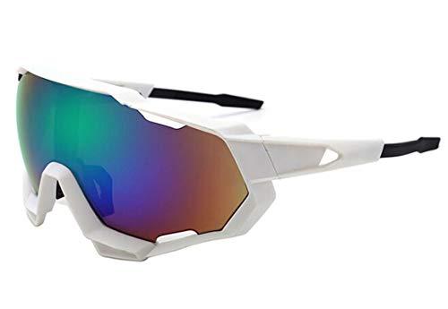 KnSam Winddicht Uv-Beständig Sportsonnenbrille Polarisiert Kratzfester Scheibe Panoramablickfeld Weiß Grün Schutzbrille