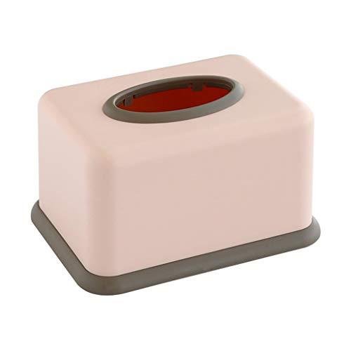 HYBKY Tissue Box Cover Rechteckig Tissue Box Kunststoff Tissue Box Cover Schminktisch, Nachttisch, Schreibtisch, Pink/Grau Taschentuchhalter (Color : Pink) -