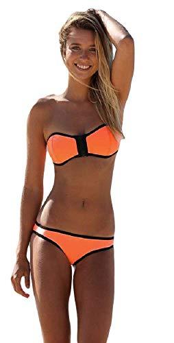 Fancy Me Damen Neon Orange-Grün Weiß Rosa Gefüttert Reißverschluss Trägerlos Bandeau-Bikini Strandsatz - UK 6-8, Orange