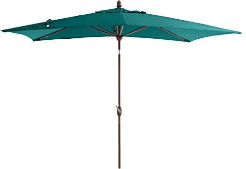 SORARA Parasol Jardin | Vert | 300 x 200 cm (3 x 2 m) | Rectangulaire Porto (Mât Bronzé) | Commande à Manivelle | INCL. Housse (Excl. Base)