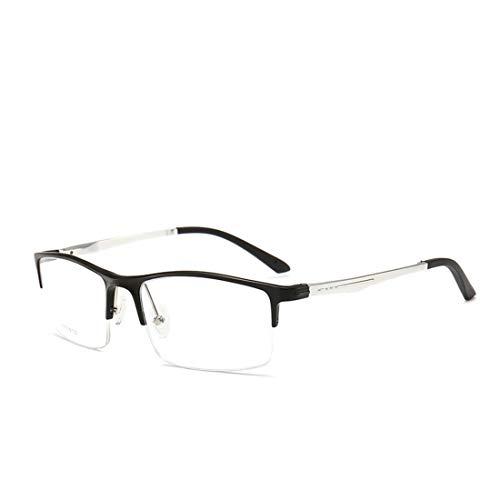 Shiduoli Die halbrunde quadratische Brille des Geschäfts für Männer stellt eine Nicht verschreibungspflichtige Brille für Frauen her (Color : Silver)