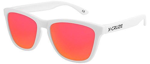 X-CRUZE® 9-068 X0 Nerd Sonnenbrillen polarisiert Style Stil Retro Vintage Retro Unisex Herren Damen Männer Frauen Brille Nerdbrille - weiß matt LS/rot-orange verspiegelt