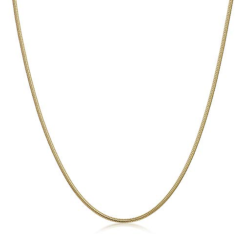 Amberta 925 Sterlingsilber Vergoldet 18K Damen-Halskette - Schlangenkette - Rattenschwanz-Kette - 1.4 mm Breite - Verschiedene Längen: 40 45 50 55 60 cm (45cm)