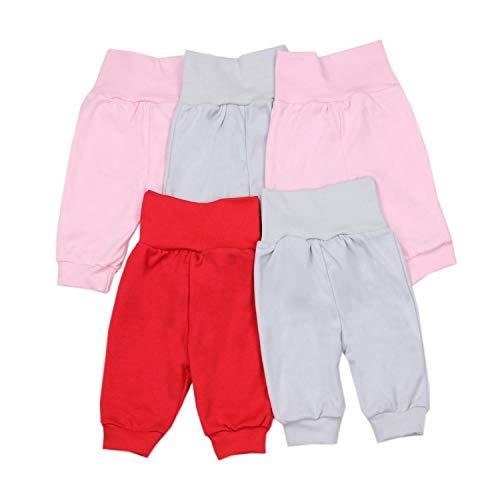TupTam Unisex Baby Pumphose Jogginghose Baumwolle 5er Pack, Farbe: Mädchen, Größe: 56