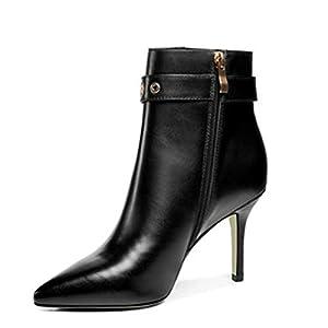 FENGJIAREN Echtes Leder High Heels Stiefeletten Schuhe Schnalle Martin Stiefel Damen Winter Herbst Schwarz Chelsea Boots