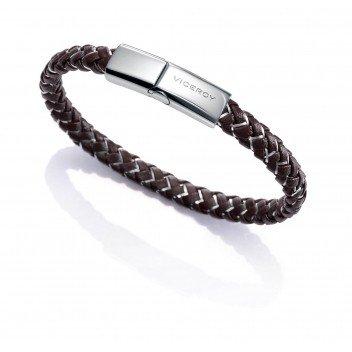 Imagen de pulsera trenzada de piel y cable metalico co