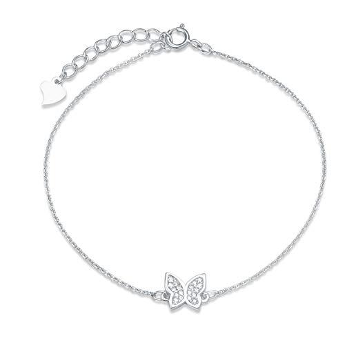 Damen Armband aus Schmetterling Charm mit 925 Sterling Silber - Verstellbar Armkette 19.5 cm