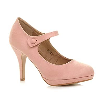 93e599c716d Womens Ladies mid high Heel Mary Jane Strap Evening Court Shoes Pumps Size  3 36