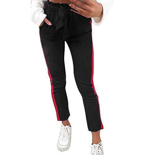 Ansenesna Paperbag Hose Damen Mit Gürtel High Waist Schick Elegant Hosen Frauen Seitenstreifen Eng Freizeithosen -
