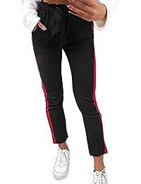d2ffa2337f beautyjourney Remiendo de Rayas de Las Mujeres Pantalones Casuales Leggings  de Cintura Alta del Vendaje Pantalones