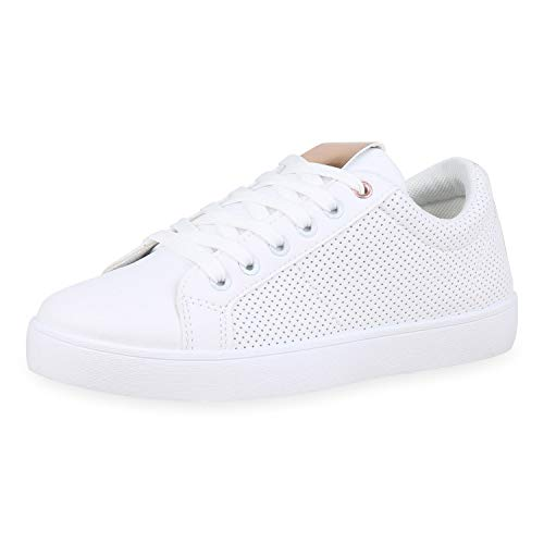 SCARPE VITA Damen Sneaker Low Metallic Turnschuhe Schnürer Leder-Optik Schuhe Lack Freizeitschuhe 176760 Weiss Rose Gold 41