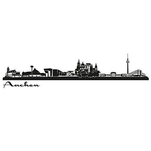 Wandkings Skyline - Deine Stadt wählbar - Aachen - 125 x 23 cm - Wandaufkleber Wandsticker Wandtattoo