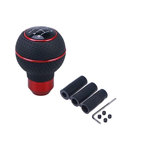 LIOOBO Universal Schaltknauf 5 Geschwindigkeit manuelle Auto Schaltknauf Schalthebel (rot) (Schaltknauf Gang Manuelle Rot 5)