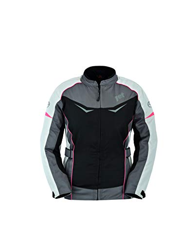 jet chaqueta moto mujer textil impermeable con protecciones rochelle (s (es 36), gris/rosa)