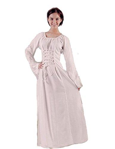 ter Gothic Ethno Unterkleid Gewand Mia schwarz natur-weiß, weinrot S M L XL, Farbe:natur, Größe:S/M (Mittelalter Kleid Weiss)