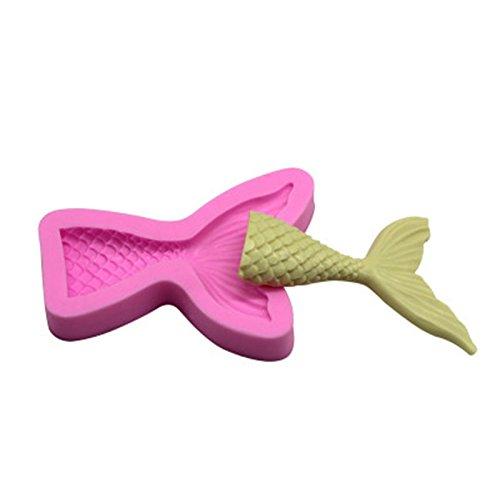 MSYOU Formen Silikon Cartoon Meerjungfrau Fischschwanz Muster DIY Handarbeit Form für Muffin Fondant Kuchen Gelee Schokolade Kekse Seife Rosa