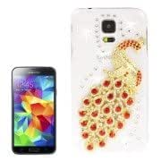 Alcoa Prime 3D Peacock Pattern Diamond Encrusted Transparent Plastic Case for Samsung Galaxy S5 / G900 (Red)