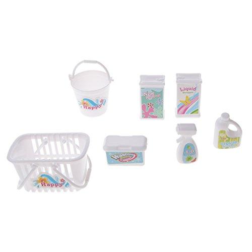 MagiDeal 7pcs Strumenti Di Pulizia Mini Cesto Della Biancheria Kit Secchio Di Detergente per La Bambola Barbie