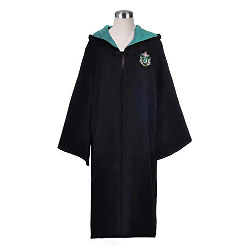 WMAOT Disfraz de Mago Túnica Negra Larga de Caballero Uniformes Cosplay Asistente Adulto Unisex-Niño Capa con Capucha Disfraces (M, Verde)