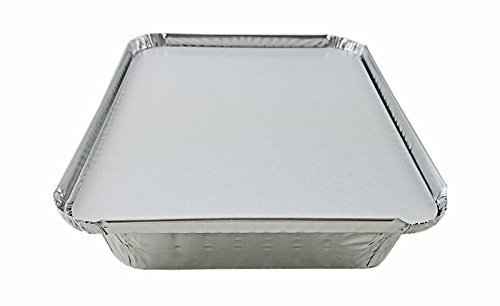 Mr Miracle 1 1/2 LB, Länglich Flach Take-Out Food Container w/Board Deckel aluminiumfarben -
