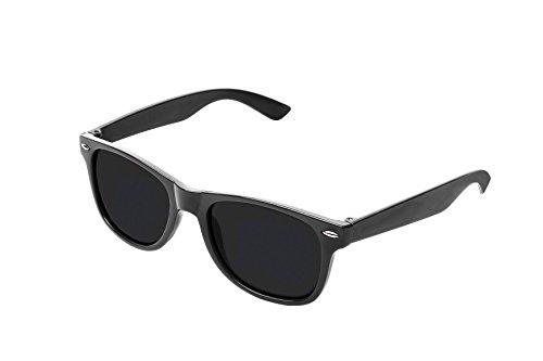 RetroUV® Klassische Brillen 80er Jahre Retro Große Horn Umrandeten Sonnenbrille Stil, Schwarz Tönung,