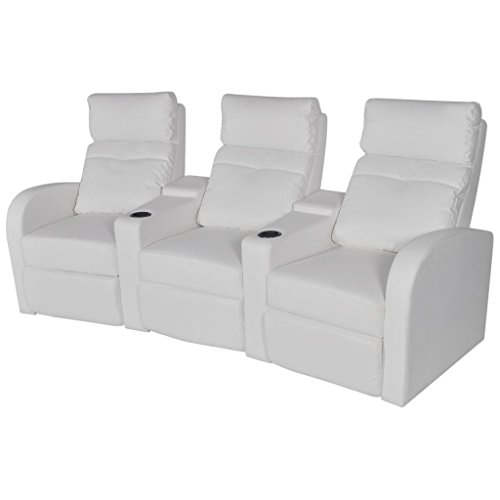 vidaXL Canapé inclinable Cinéma Maison 3 sièges Cuir synthétique Blanc Sofa Relaxation