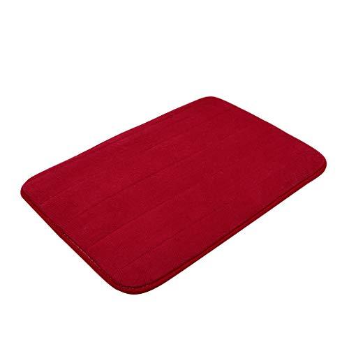 Scrolor Teppichboden Teppiche Area Rugs Memory Foam Carpet Bad Schlafzimmer Boden Rutschfeste Dusche Teppiche Fußmatte(Wein,40x60cm) (Rote Und Graue Teppich)
