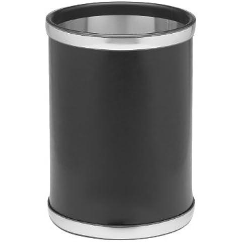 Papelera de sofisticados Kraftware con cromo cepillado redondo banda, negro - 27,31 cm