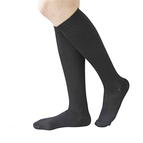 3 Paar Neue Unisex-Socken Kompressionsstrümpfe Thrombosestrümpfe Strümpfe Kompression Kniehohe Beinstütze Dehnungsdruck Zirkulation Schwarz S/M (42-44)